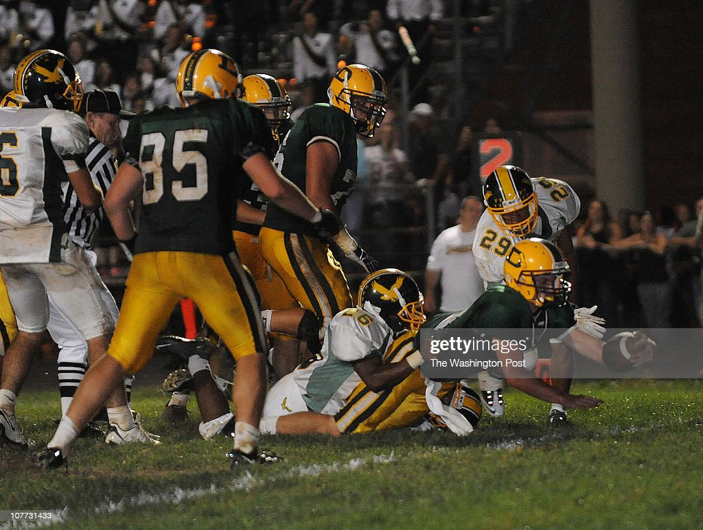 Damascus quarterback Connor Frazier dives into the endzone for the winning touchdown during the game against Seneca Valley at Damascus High School on...