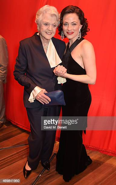 Dame Angela Lansbury and Lara Pulver attends a post show drinks reception on stage following the press night performance of 'Gypsy' at The Savoy...