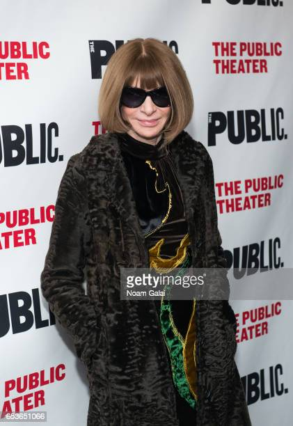Dame Anna Wintour DBE attends 'Joan Of Arc Into The Fire' opening night at The Public Theater on March 15 2017 in New York City