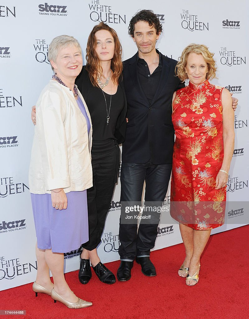 Dame Barbara Hay, actress Rebecca Ferguson, actor James Frain and author Philippa Gregory arrive at Cocktails With The Queen-The British Consulate Toasts The U.S. Launch Of The Starz Original Series 'The White Queen' at British Consul General's Residence on July 25, 2013 in Los Angeles, California.