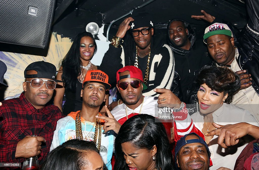 Dame Dash, <a gi-track='captionPersonalityLinkClicked' href=/galleries/search?phrase=Juelz+Santana&family=editorial&specificpeople=608338 ng-click='$event.stopPropagation()'>Juelz Santana</a>, <a gi-track='captionPersonalityLinkClicked' href=/galleries/search?phrase=Cam%27ron&family=editorial&specificpeople=2085564 ng-click='$event.stopPropagation()'>Cam'ron</a>, <a gi-track='captionPersonalityLinkClicked' href=/galleries/search?phrase=2+Chainz&family=editorial&specificpeople=8559144 ng-click='$event.stopPropagation()'>2 Chainz</a> (rear), and Deelishis attend Camron's KillaBowl at WIP on February 2, 2014 in New York City.