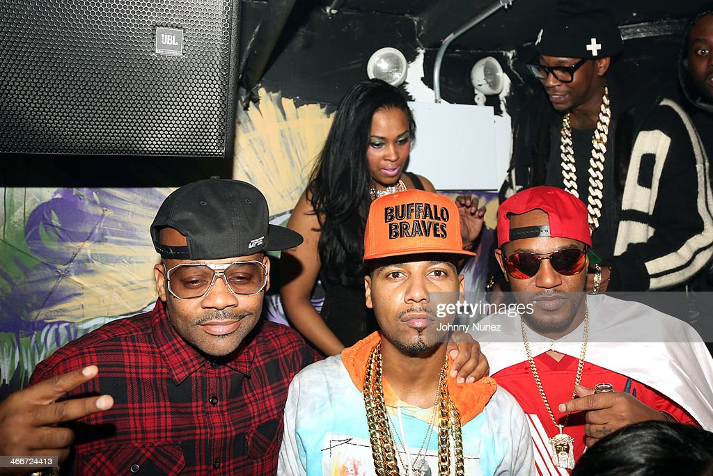 Dame Dash, <a gi-track='captionPersonalityLinkClicked' href=/galleries/search?phrase=Juelz+Santana&family=editorial&specificpeople=608338 ng-click='$event.stopPropagation()'>Juelz Santana</a>, <a gi-track='captionPersonalityLinkClicked' href=/galleries/search?phrase=Cam%27ron&family=editorial&specificpeople=2085564 ng-click='$event.stopPropagation()'>Cam'ron</a>, and <a gi-track='captionPersonalityLinkClicked' href=/galleries/search?phrase=2+Chainz&family=editorial&specificpeople=8559144 ng-click='$event.stopPropagation()'>2 Chainz</a> attend Camron's KillaBowl at WIP on February 2, 2014 in New York City.