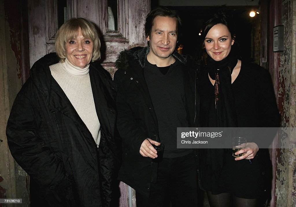 Dame Diana Rigg and her daughter Rachael Stirling pose for a photograph with actor Ronan Vibert outside Wilton's Music Theatre during the Uncle Vanya after party on Jauary 26, 2007.
