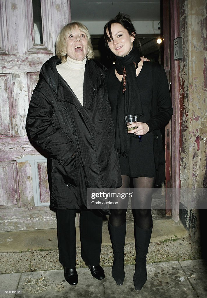 Dame Diana Rigg and her daughter Rachael Stirling pose outside Wilton's Music Theatre during the Uncle Vanya after party on Jauary 26, 2007.
