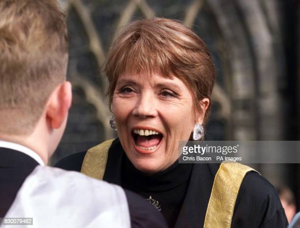 Dame Diana Rigg shares a joke with a colleague after being installed at Chancellor of the University of Stirling today at Holy Rude Church Stirling...