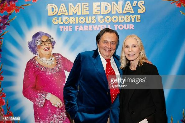 Dame Edna creator and performer Barry Humphries and actress Victoria Tennant pose backstage after the opening night performance of 'Dame Edna's...