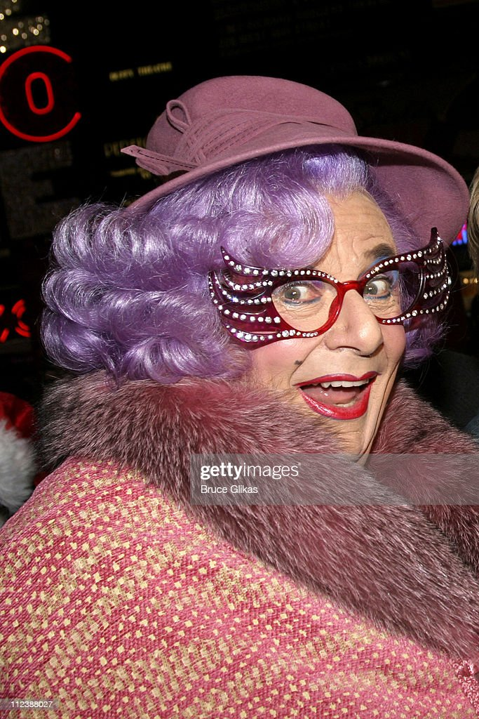 Dame Edna during The Theater Development Fund lights the Broadway Holiday tree in Times Square at Duffy Square - 47th and Broadway in New York City, NY, United States.