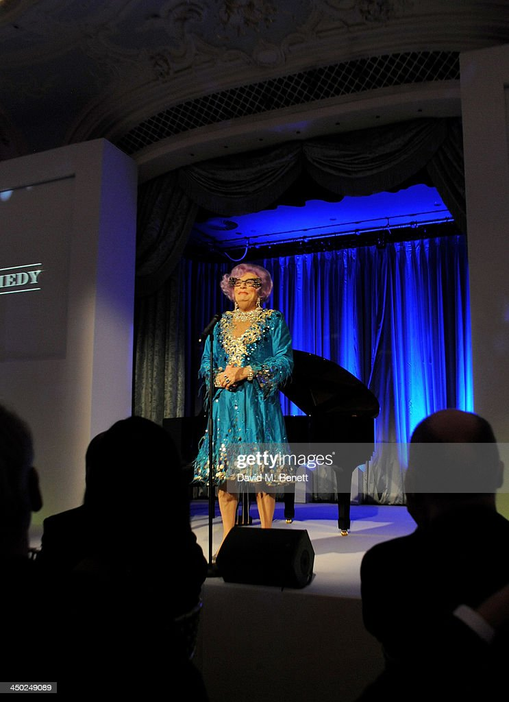 Dame Edna Everage speaks the 59th London Evening Standard Theatre Awards at The Savoy Hotel on November 17, 2013 in London, England.