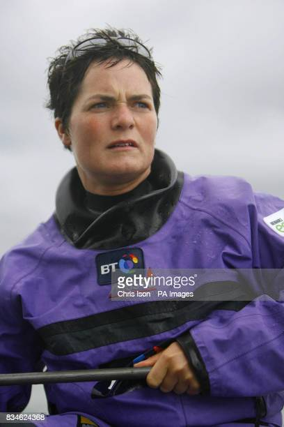 Dame Ellen MacArthur at the helm of the BT Extreme 40 catamaran racing in Osbourne Bay off the Isle of Wight She will race the highspeed yacht in the...