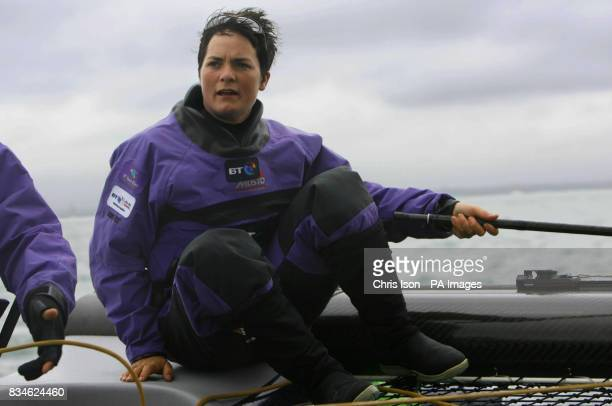 Dame Ellen MacArthur captain of the BT Extreme 40 catamaran racing in Osbourne Bay off the Isle of Wight She will race the highspeed yacht in the JP...