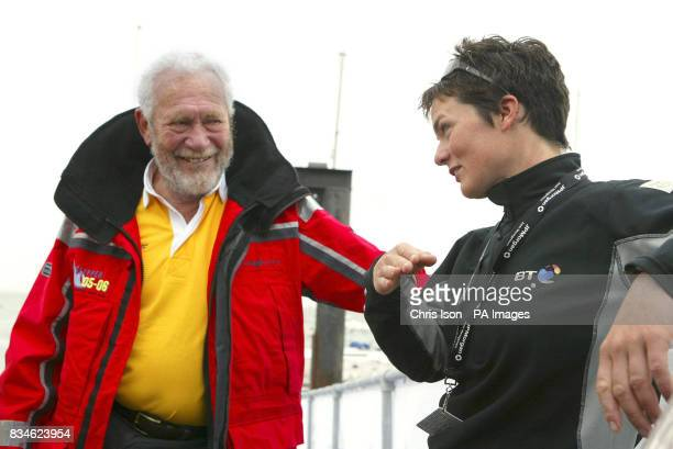 Dame Ellen MacArthur chats with Sir Robin KnoxJohnston at the Island Sailing Club on the Isle of Wight ahead of the JP Morgan Asset Management Round...