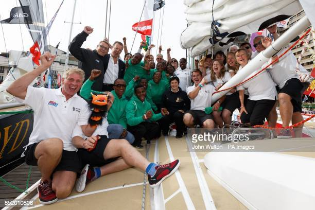 Dame Ellen MacArthur poses for a photograph with the Invest Africa crew during the start of the Clipper Round the World Race in London