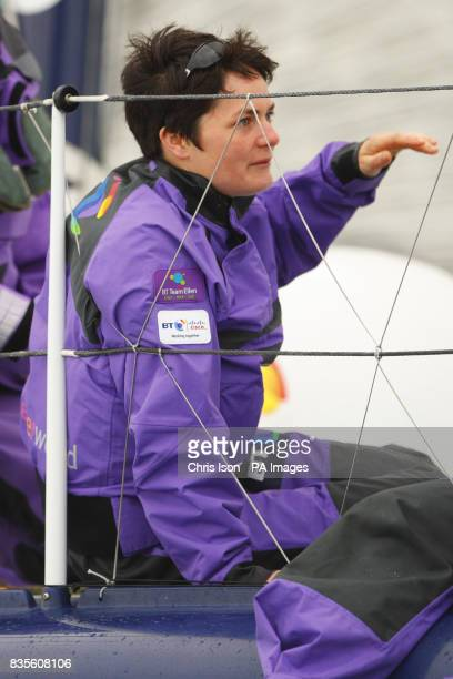 Dame Ellen MacArthur sailing aboard BT during the JP Morgan Asset Management Round the Island Race Isle of Wight