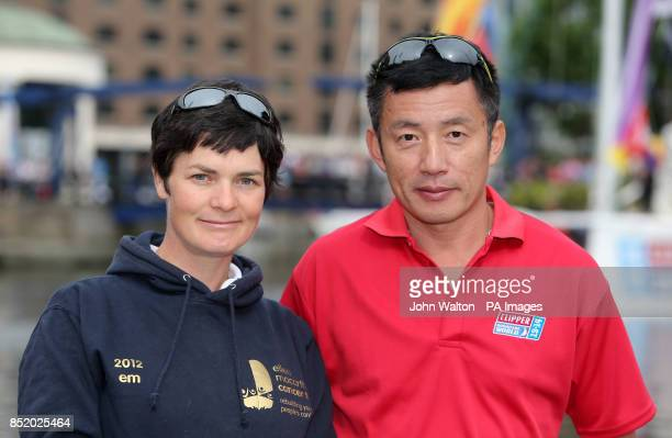 Dame Ellen MacArthur with Cuo Chuan during the start of the Clipper Round the World Race at St Katharine Docks London