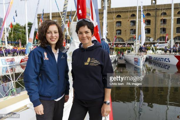Dame Ellen MacArthur with Kristie Reid a crew member aboard Great Britain and representative of the Ellen MacArthur Cancer Trust aboard the boat at...