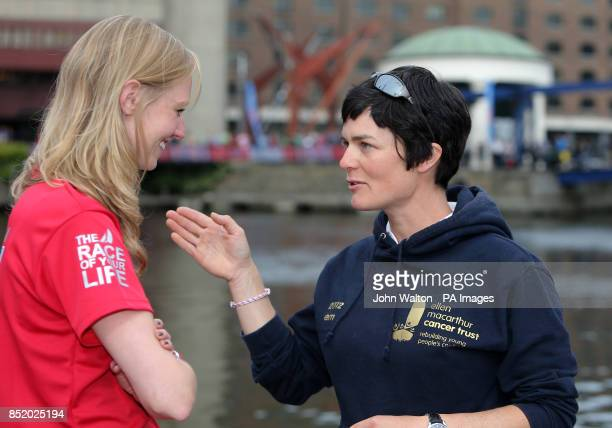 Dame Ellen MacArthur with Lucie Carrington during the start of the Clipper Round the World Race at St Katharine Docks London