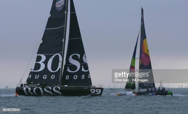 Dame Ellen MacArthur's Extreme 40 catamaran BT passes Hugo Boss before she was forced to withdraw from the JP Morgan Asset Management Round the...