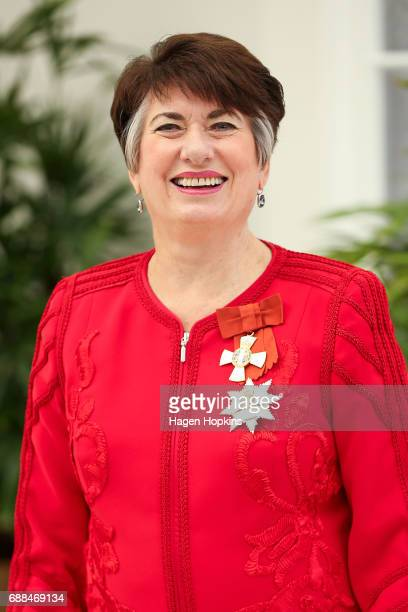 Dame Fran Wilde poses after receiving the Dames Companion of The New Zealand Order of Merit for services to the State and the community at Government...