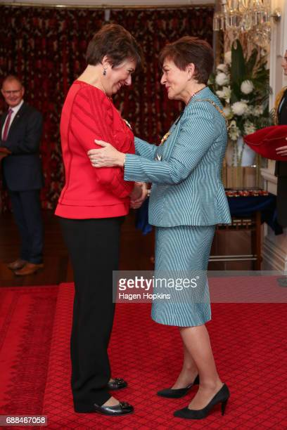 Dame Fran Wilde receives the Dames Companion of The New Zealand Order of Merit from GovernorGeneral Dame Patsy Reddy for services to the State and...