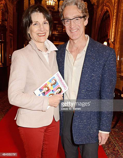 Dame Harriet Walter and Guy Paul attend an after party following the press night performance of 'Handbagged' at the Royal Horseguards hotel on April...