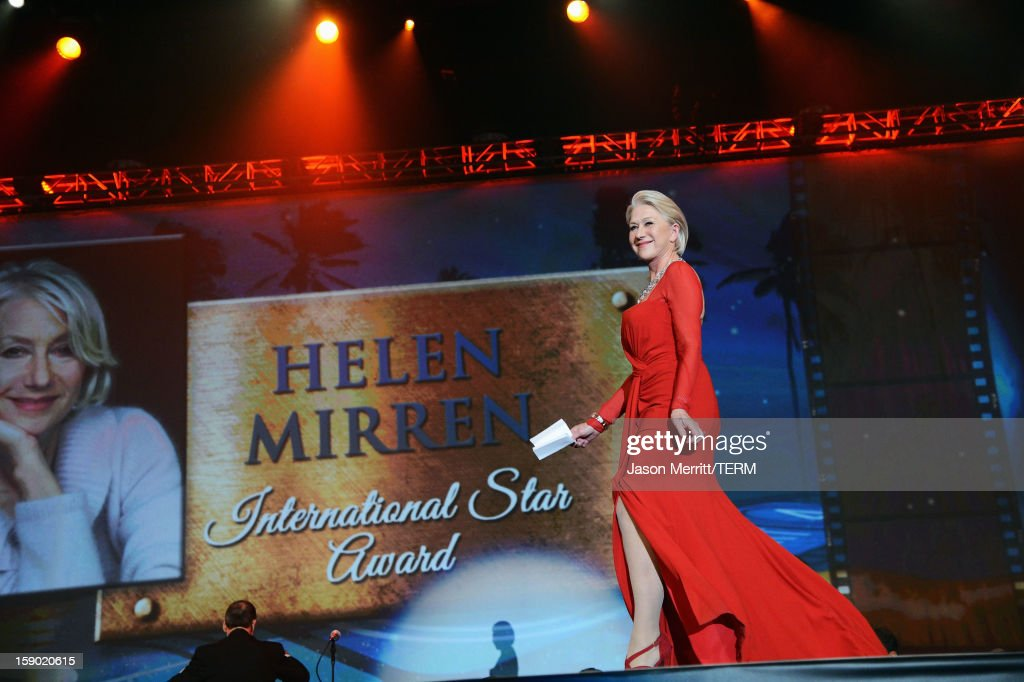 Dame <a gi-track='captionPersonalityLinkClicked' href=/galleries/search?phrase=Helen+Mirren&family=editorial&specificpeople=201576 ng-click='$event.stopPropagation()'>Helen Mirren</a> accepts the International Star Award onstage during the 24th annual Palm Springs International Film Festival Awards Gala at the Palm Springs Convention Center on January 5, 2013 in Palm Springs, California.