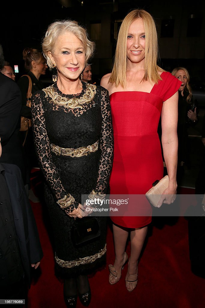 Dame Helen Mirren and actress Toni Collette arrive at the premiere of Fox Searchlight Pictures' 'Hitchcock' at the Academy of Motion Picture Arts and Sciences Samuel Goldwyn Theater on November 20, 2012 in Beverly Hills, California.