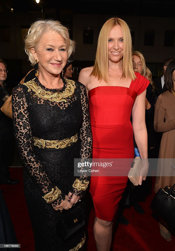 Dame <a gi-track='captionPersonalityLinkClicked' href=/galleries/search?phrase=Helen+Mirren&family=editorial&specificpeople=201576 ng-click='$event.stopPropagation()'>Helen Mirren</a> and actress <a gi-track='captionPersonalityLinkClicked' href=/galleries/search?phrase=Toni+Collette&family=editorial&specificpeople=204673 ng-click='$event.stopPropagation()'>Toni Collette</a> arrive at the premiere of Fox Searchlight Pictures' 'Hitchcock' at the Academy of Motion Picture Arts and Sciences Samuel Goldwyn Theater on November 20, 2012 in Beverly Hills, California.
