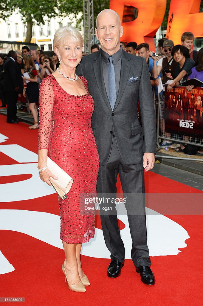 Dame <a gi-track='captionPersonalityLinkClicked' href=/galleries/search?phrase=Helen+Mirren&family=editorial&specificpeople=201576 ng-click='$event.stopPropagation()'>Helen Mirren</a> and <a gi-track='captionPersonalityLinkClicked' href=/galleries/search?phrase=Bruce+Willis&family=editorial&specificpeople=202185 ng-click='$event.stopPropagation()'>Bruce Willis</a> attend the European premiere of 'Red 2' at The Empire Leicester Square on July 22, 2013 in London, England.