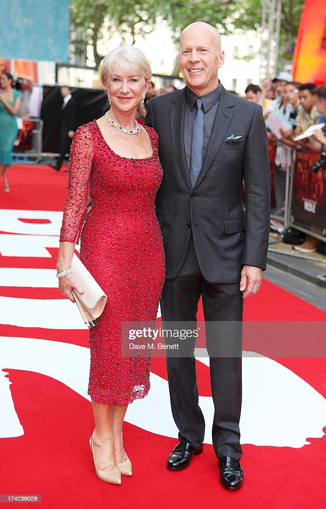 Dame Helen Mirren (L) and Bruce Willis attend the European Premiere of 'Red 2' at the Empire Leicester Square on July 22, 2013 in London, England.