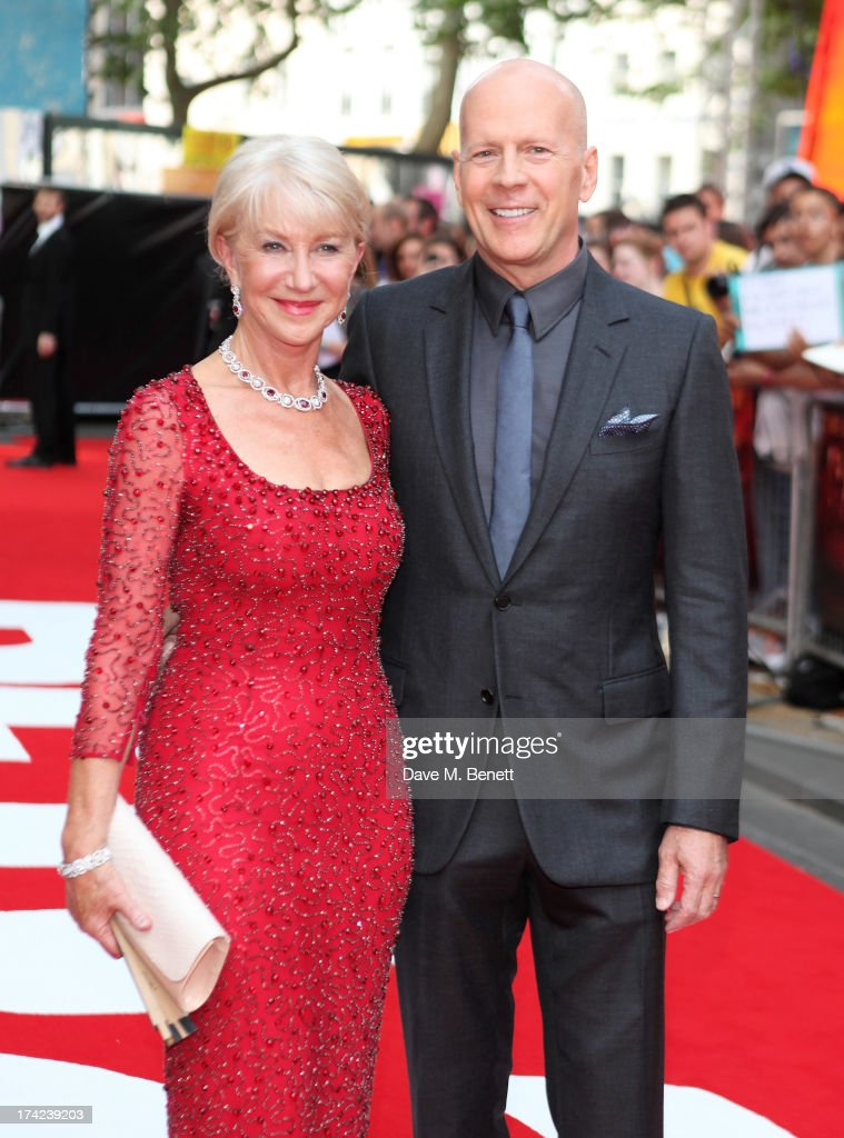 Dame <a gi-track='captionPersonalityLinkClicked' href=/galleries/search?phrase=Helen+Mirren&family=editorial&specificpeople=201576 ng-click='$event.stopPropagation()'>Helen Mirren</a> (L) and <a gi-track='captionPersonalityLinkClicked' href=/galleries/search?phrase=Bruce+Willis&family=editorial&specificpeople=202185 ng-click='$event.stopPropagation()'>Bruce Willis</a> attend the European Premiere of 'Red 2' at the Empire Leicester Square on July 22, 2013 in London, England.