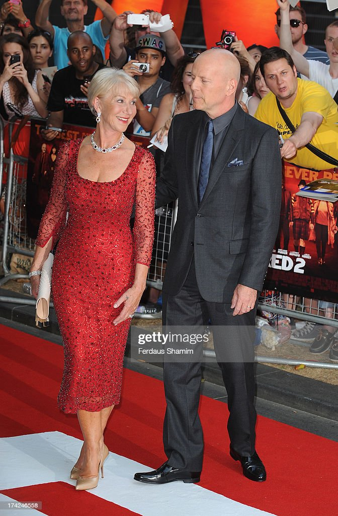 Dame Helen Mirren and Bruce Willis attend the European Premiere of 'Red 2' at Empire Leicester Square on July 22, 2013 in London, England.