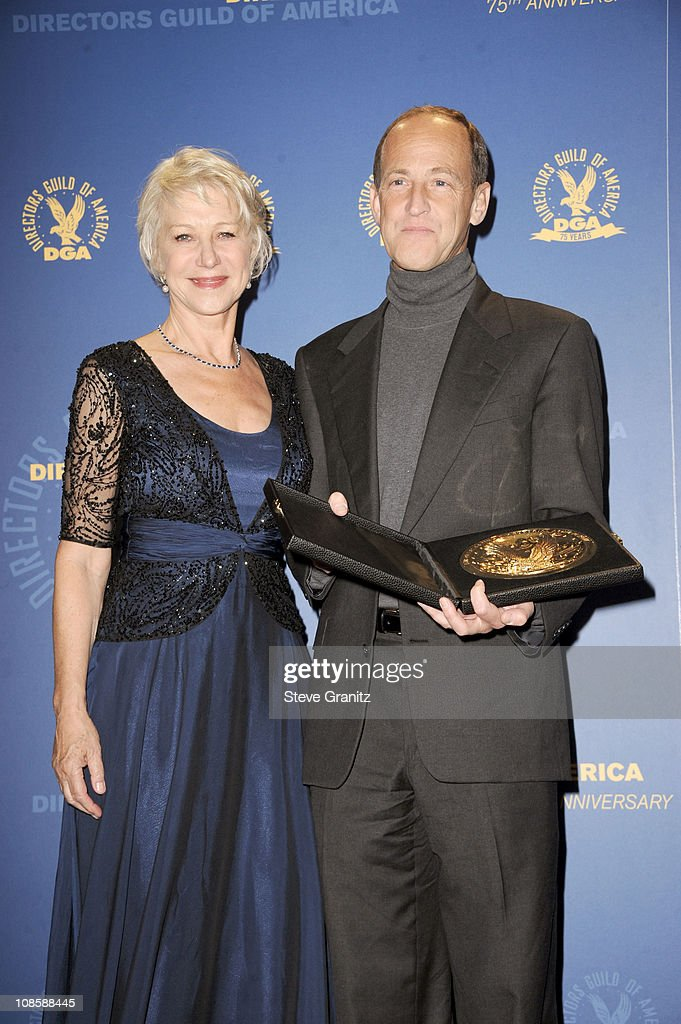 Dame Helen Mirren and director Charles Ferguson pose in the press room during the 63rd Annual DGA Awards held at the Grand Ballroom at Hollywood...