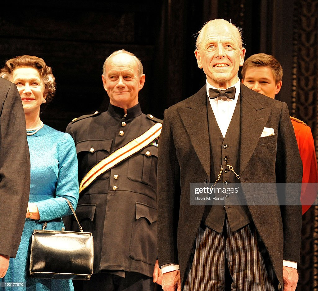 Dame Helen Mirren (L) and Edward Fox (R) bow at the curtain call during the press night performance of 'The Audience' at the Gielgud Theatre on March 5, 2013 in London, England.
