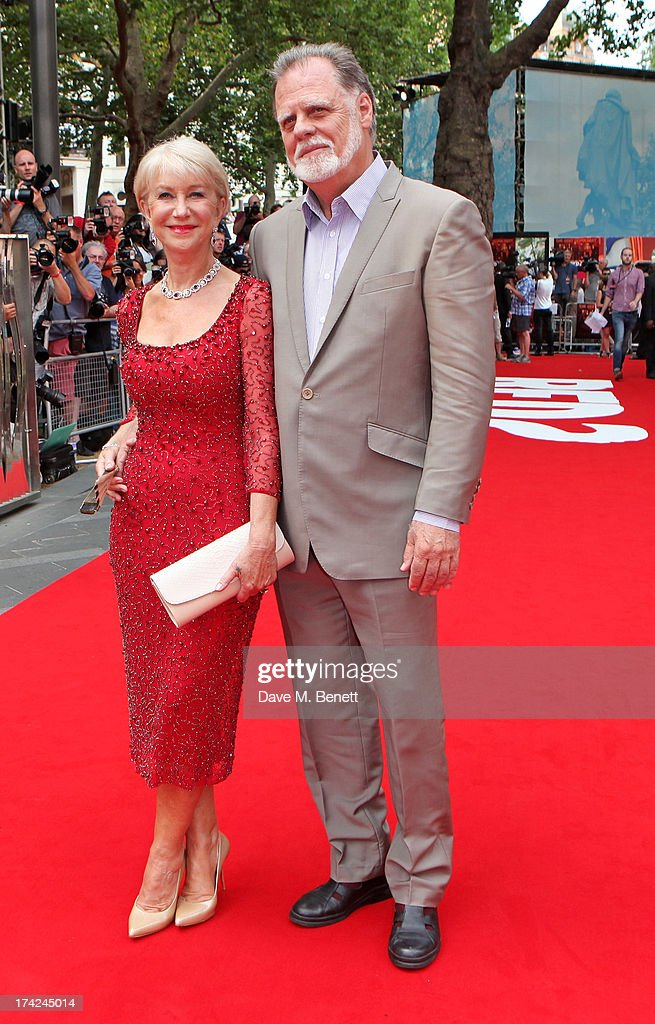 Dame Helen Mirren (L) and husband Taylor Hackford attend the European Premiere of 'Red 2' at the Empire Leicester Square on July 22, 2013 in London, England.