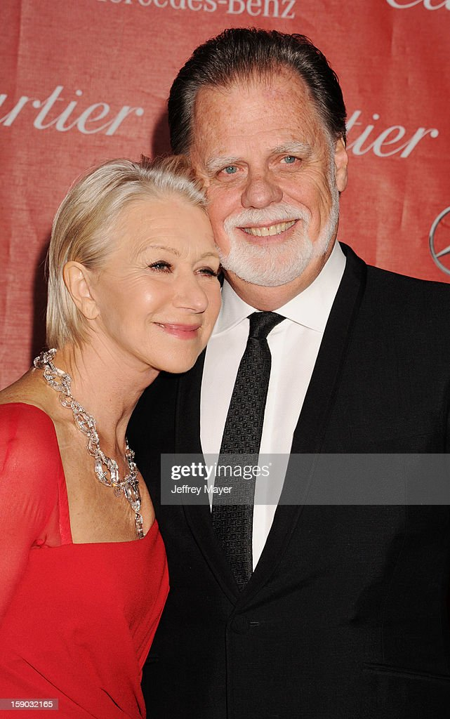 Dame Helen Mirren and Taylor Hackford arrive at the 24th Annual Palm Springs International Film Festival - Awards Gala at Palm Springs Convention Center on January 5, 2013 in Palm Springs, California.