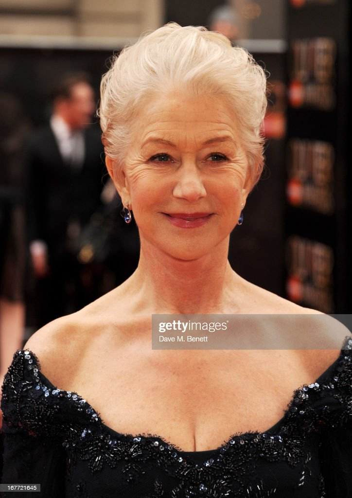 Dame Helen Mirren arrive at The Laurence Olivier Awards 2013 at The Royal Opera House on April 28, 2013 in London, England.