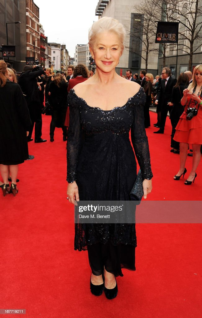 Dame Helen Mirren arrives at The Laurence Olivier Awards 2013 at The Royal Opera House on April 28, 2013 in London, England.