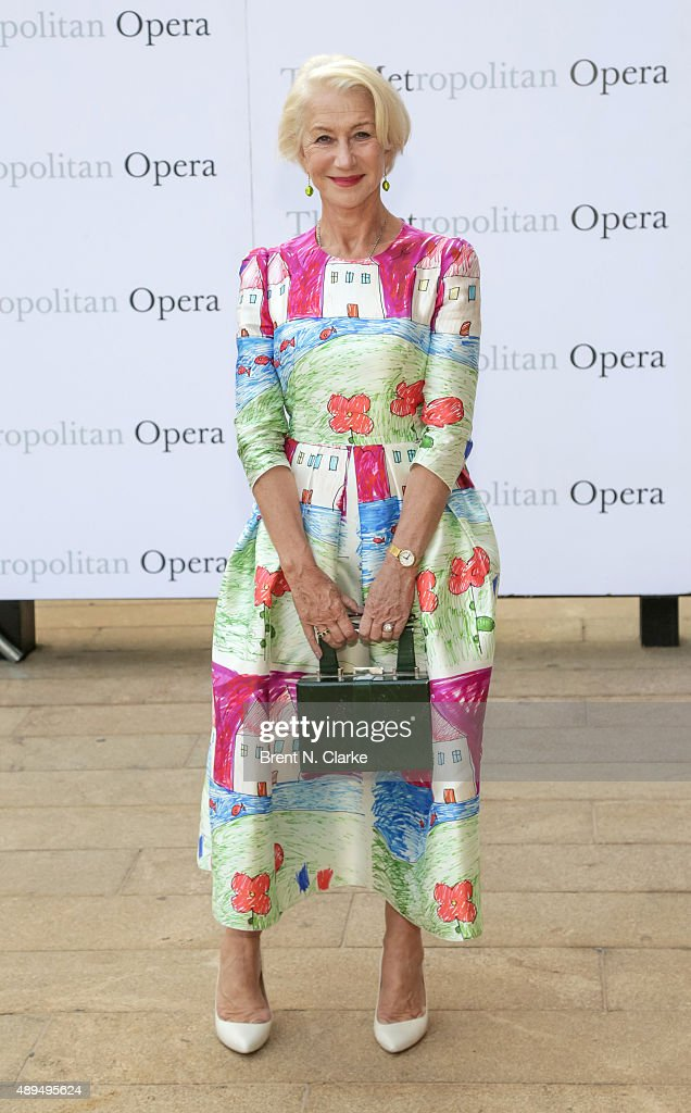 Dame Helen Mirren arrives for the Metropolitan Opera's 2015-2016 season opening night performance of 'Otello' held at The Metropolitan Opera House on September 21, 2015 in New York City.