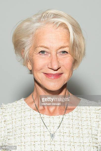 Dame Helen Mirren attends the Badgley Mischka fashion show during Spring 2016 New York Fashion Week at The Arc Skylight at Moynihan Station on...