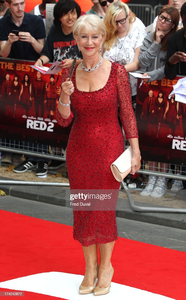 Dame <a gi-track='captionPersonalityLinkClicked' href=/galleries/search?phrase=Helen+Mirren&family=editorial&specificpeople=201576 ng-click='$event.stopPropagation()'>Helen Mirren</a> attends the European Premiere of Red 2 at Empire Leicester Square on July 22, 2013 in London, England.