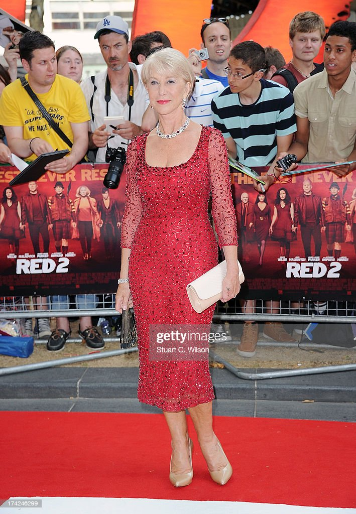 Dame <a gi-track='captionPersonalityLinkClicked' href=/galleries/search?phrase=Helen+Mirren&family=editorial&specificpeople=201576 ng-click='$event.stopPropagation()'>Helen Mirren</a> attends the European Premiere of 'Red 2' at Empire Leicester Square on July 22, 2013 in London, England.