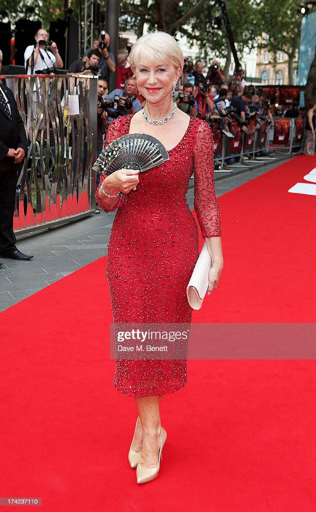 Dame <a gi-track='captionPersonalityLinkClicked' href=/galleries/search?phrase=Helen+Mirren&family=editorial&specificpeople=201576 ng-click='$event.stopPropagation()'>Helen Mirren</a> attends the European Premiere of 'Red 2' at the Empire Leicester Square on July 22, 2013 in London, England.