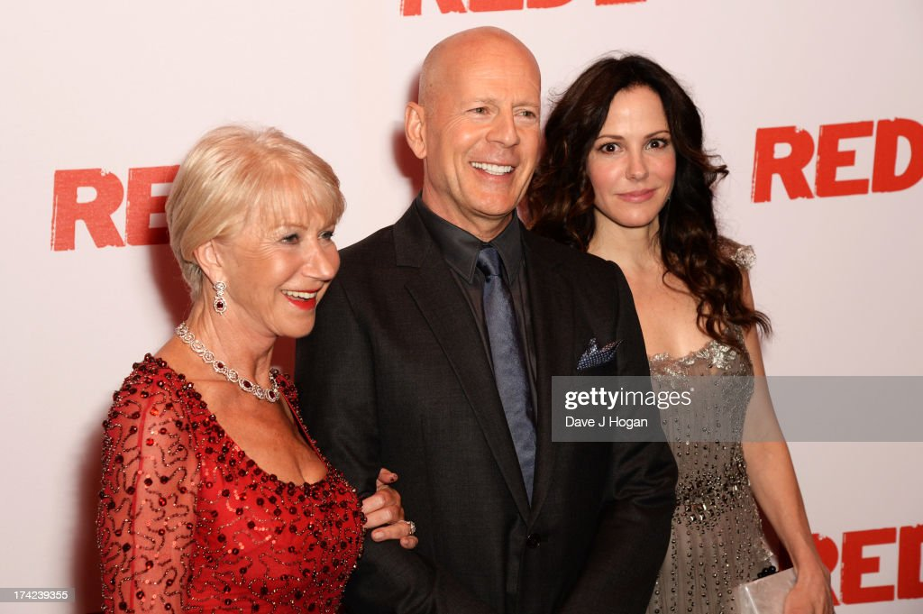 Dame <a gi-track='captionPersonalityLinkClicked' href=/galleries/search?phrase=Helen+Mirren&family=editorial&specificpeople=201576 ng-click='$event.stopPropagation()'>Helen Mirren</a>, <a gi-track='captionPersonalityLinkClicked' href=/galleries/search?phrase=Bruce+Willis&family=editorial&specificpeople=202185 ng-click='$event.stopPropagation()'>Bruce Willis</a> and Mary Louise-Parker attend the European premiere of 'Red 2' at The Empire Leicester Square on July 22, 2013 in London, England.