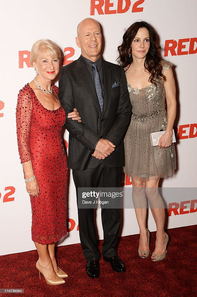 Dame Helen Mirren, Bruce Willis and Mary Louise-Parker attend the European premiere of 'Red 2' at The Empire Leicester Square on July 22, 2013 in London, England.