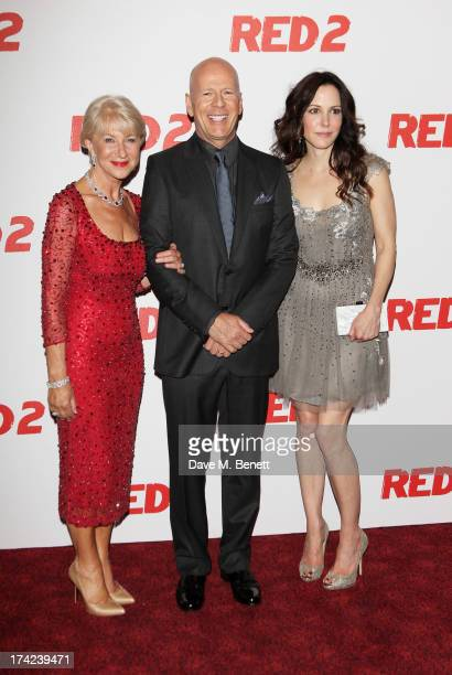 Dame Helen Mirren Bruce Willis and MaryLouise Parker attend the European Premiere of 'Red 2' at the Empire Leicester Square on July 22 2013 in London...