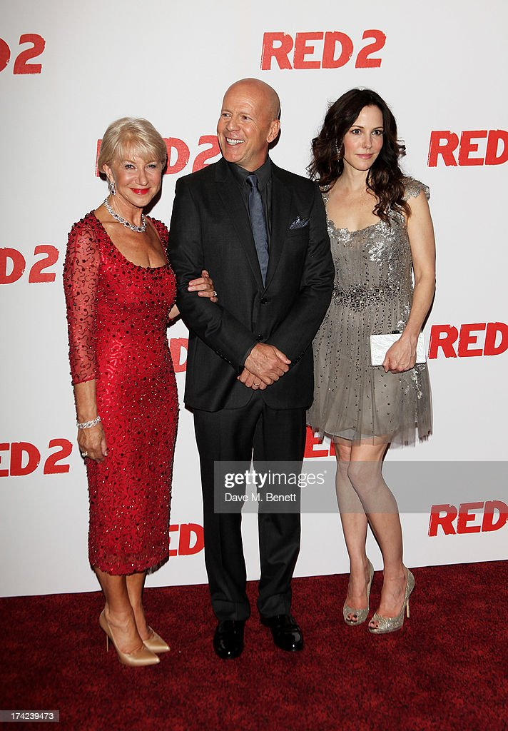Dame Helen Mirren, Bruce Willis and Mary-Louise Parker attend the European Premiere of 'Red 2' at the Empire Leicester Square on July 22, 2013 in London, England.