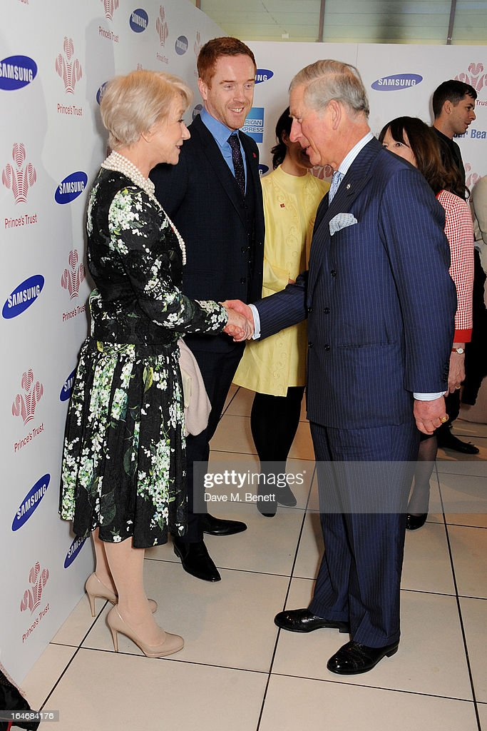 Dame Helen Mirren, Damian Lewis and HRH Prince Charles, Prince of Wales attend The Prince's Trust & Samsung Celebrate Success Awards at Odeon Leicester Square on March 26, 2013 in London, England.
