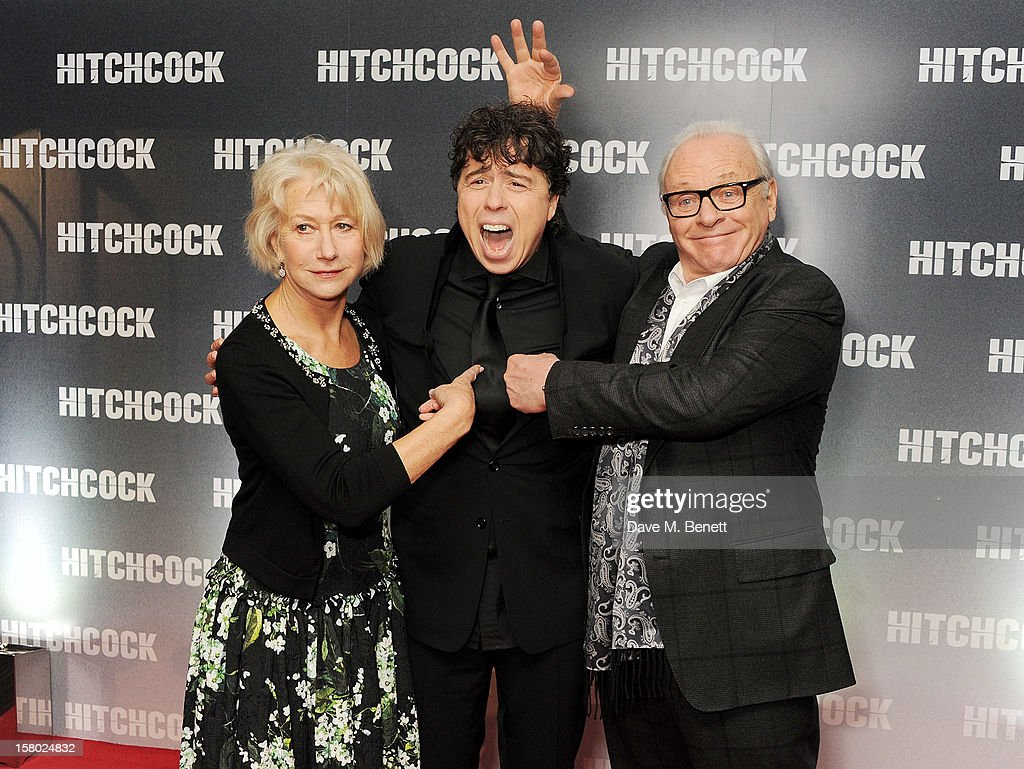Dame Helen Mirren, director Sacha Gervasi and Sir Anthony Hopkins attend the UK Premiere of 'Hitchcock' at BFI Southbank on December 9, 2012 in London, England.