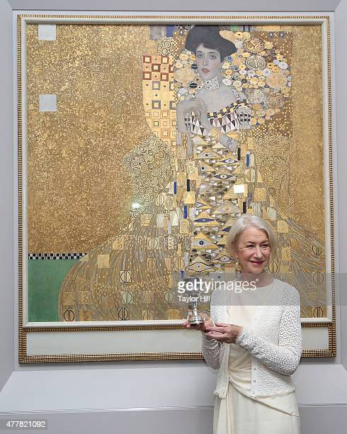 Dame Helen Mirren is honored by the World Jewish Congress for her role as Adele BlochBauer in 'Woman in Gold' in front of her character's portrait by...