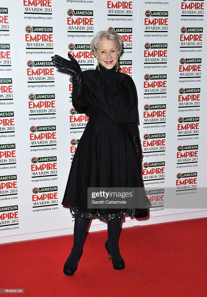 Dame Helen Mirren is pictured arriving at the Jameson Empire Awards at Grosvenor House on March 24, 2013 in London, England.